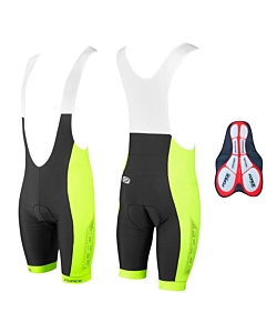 Force B40 Bibshorts with Gel Pad Black / Yellow Fluo