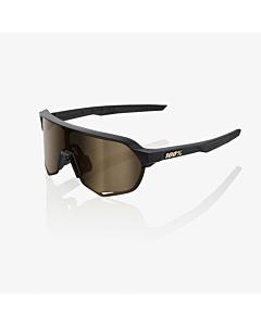 100% S2 Matte Black Soft / Gold Mirror Lens Eyewear