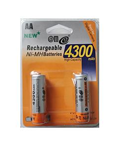 2 AA Rechargeable Batteries  RTU 4300mAh